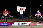 (L-R) Zhang Dongshuang (CHN),    Manami Doi (JPN), Mohamad Latif Nur Shazrin (MAS), <br /> AUGUST 31, 2018 - Sailing : Women's Laser Radial Victory ceremony at Indonesia National Sailing Center during the 2018 Jakarta Palembang Asian Games in Jakarta, Indonesia. <br /> (Photo by MATSUO.K/AFLO SPORT)
