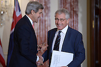 November 20, 2013  (Washington, DC)  Secretary of State John Kerry and Chuck Hagel, Secretary of Defense, after a joint press availability with the Australian Foreign Minister in the Ben Franklin Room of the State Department  (Photo by Don Baxter/Media Images International)