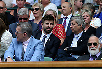Footballer Gerard Pique watches from Centre Court.<br /> <br /> Photographer Rob Newell/CameraSport<br /> <br /> Wimbledon Lawn Tennis Championships - Day 3 - Wednesday 4th July 2018 -  All England Lawn Tennis and Croquet Club - Wimbledon - London - England<br /> <br /> World Copyright &not;&uml;&not;&copy; 2017 CameraSport. All rights reserved. 43 Linden Ave. Countesthorpe. Leicester. England. LE8 5PG - Tel: +44 (0) 116 277 4147 - admin@camerasport.com - www.camerasport.com