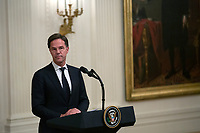 United States President Donald J. Trump participates in a presentation of the D-DAY Flag ceremony with Prime Minister of the Netherlands Mark Rutte in the East Room of the White House in Washington D.C., U.S. on July 18, 2019. Photo Credit: Stefani Reynolds/CNP/AdMedia