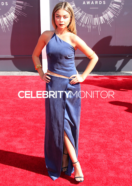 LOS ANGELES, CA, USA - AUGUST 24: Sarah Hyland at the 2014 MTV Video Music Awards held at The Forum on August 24, 2014 in the Los Angeles, California, United States. (Photo by Xavier Collin/Celebrity Monitor)