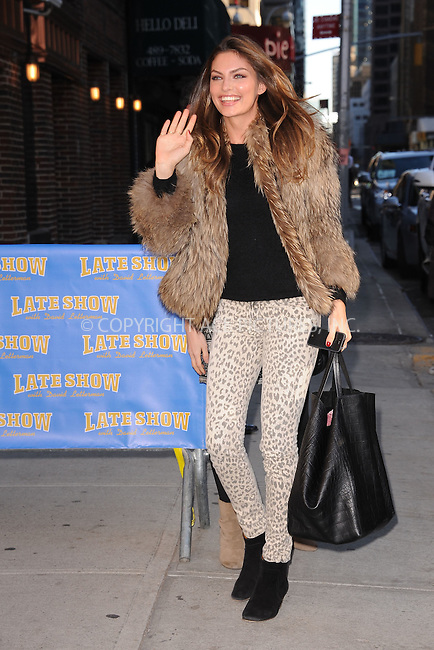 WWW.ACEPIXS.COM . . . . . February 13, 2012...New York City...Alyssa Miller tapes an appearance on  the Late Show with David Letterman on February 13, 2012 in New York City....Please byline: KRISTIN CALLAHAN - ACEPIXS.COM.. . . . . . ..Ace Pictures, Inc: ..tel: (212) 243 8787 or (646) 769 0430..e-mail: info@acepixs.com..web: http://www.acepixs.com .