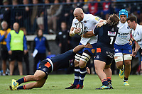 Matt Garvey of Bath Rugby takes on the Edinburgh defence. Pre-season friendly match, between Edinburgh Rugby and Bath Rugby on August 17, 2018 at Meggetland Sports Complex in Edinburgh, Scotland. Photo by: Patrick Khachfe / Onside Images