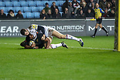 2nd December 2017, Rioch Arena, Coventry, England; Aviva Premiership rugby, Wasps versus Leicester; Nizaam Carr of Wasps touches down for Wasps first try to make the score 7-10 after the conversion