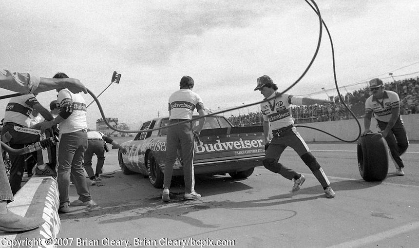 Terry Labonte pit stop in the #44 Budweiser Chevrolet Monte Carlo Atlanta Journal 500 at Atlanta International Raceway in Hampton, GA on November 6, 1983. (Photo by Brian Cleary/www.bcpix.com)  Atlanta Journal 500, Atlanta Motor Speedway, Hampton, Georgia, November 6, 1983.  (Photo by Brian Cleary/www.bcpix.com)