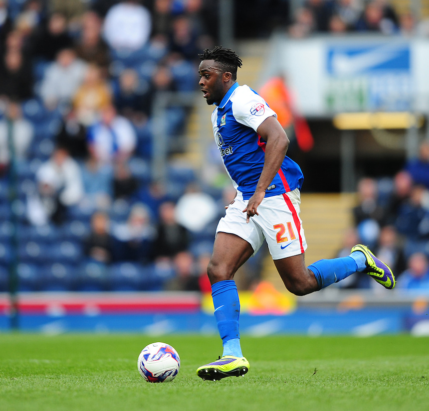 Blackburn Rovers' Hope Akpan<br /> <br /> Photographer Chris Vaughan/CameraSport<br /> <br /> Football - The Football League Sky Bet Championship - Blackburn Rovers v Bristol City - Saturday 23rd April 2016 - Ewood Park - Blackburn <br /> <br /> &copy; CameraSport - 43 Linden Ave. Countesthorpe. Leicester. England. LE8 5PG - Tel: +44 (0) 116 277 4147 - admin@camerasport.com - www.camerasport.com