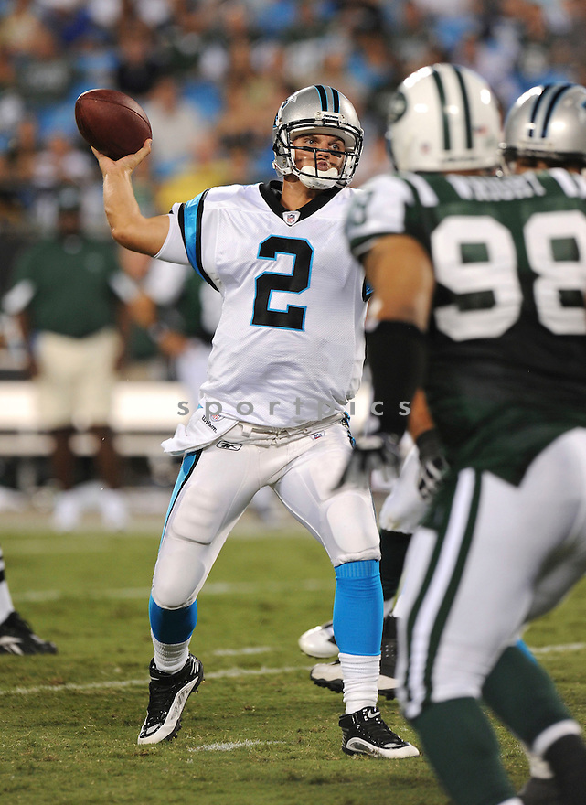 JIMMY CLAUSEN, of the Carolina Panthers   in action during the Panthersgame against the New York Jets  at Bank of America Stadium in Charlotte, N.C.  on August 21, 2010.  The Jets beat the Panthters 9-3 in the second week of preseason games...