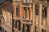 SERBIA, Belgrade, Cat on a windowsill and balconies in Belgrade, Eastern Europe