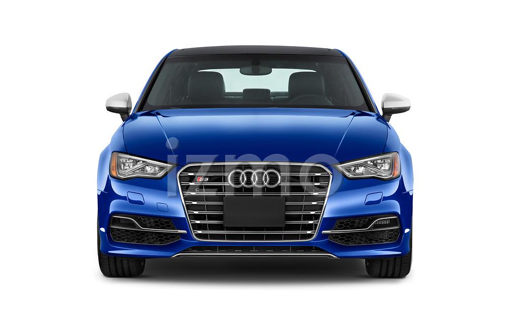Car photography straight front view of a 2015 Audi S3 Premium Plus 4 Door Sedan