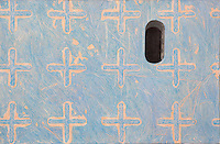"""Blue Metal Keyhole. Nanping. (Anhui Province, CH.)<br /> Continental Drift. Color Pencil on paper.20""""x40"""". <br /> Judy Byron. 2013<br /> Photo credit: Rick Reinhard"""