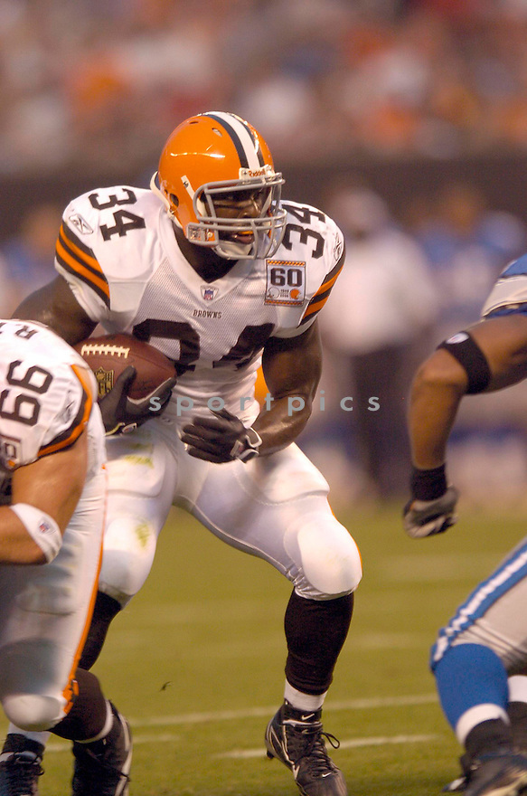 Reuben Drowns, of the Cleveland Browns, in action against the Detroit Lions on August 18, 2006, in Cleveland...Browns win 20-16..David Durochik / SportPics