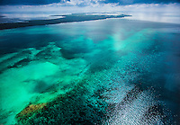 Reefs and islands of the Meso-American Reef, Belize  Caribbean Sea, World's second largest reef system