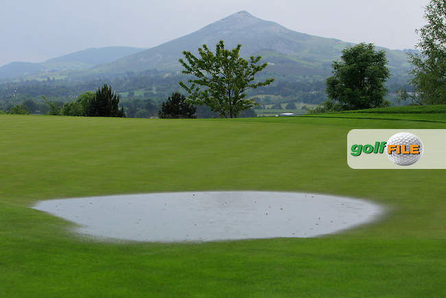 The 9th green water logged during the Saturday Afternoon Fourballs of the 2016 Curtis Cup at Dun Laoghaire Golf Club on Saturday 11th June 2016.<br /> Picture:  Golffile | Thos Caffrey