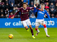 26th January 2020, Tynecastle Park, Edinburgh, Scotland; Scottish Premier League football, Hearts of Midlothian versus Rangers; Sean Clare of Hearts holds back Ryan Kent of Rangers