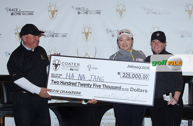 Hana Jang after winning the Coates Championship receieving her cheque for $225,000 from Mollie Coates after the Final round of the LPGA Coates Golf Championship 2016 , from the Golden Ocala Golf and Equestrian Club, Ocala, Florida. 7/2/16<br /> Picture: Mark Davison | Golffile<br /> <br /> <br /> All photos usage must carry mandatory copyright credit (&copy; Golffile | Mark Davison)
