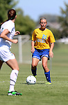 BROOKINGS, SD - SEPTEMBER 7:  Torri Poole #21 from South Dakota State eyes the defense of Rachel Scheller #5 from Bemidji State in the first half of their game Sunday in Brookings. (Photo/Dave Eggen/Inertia)