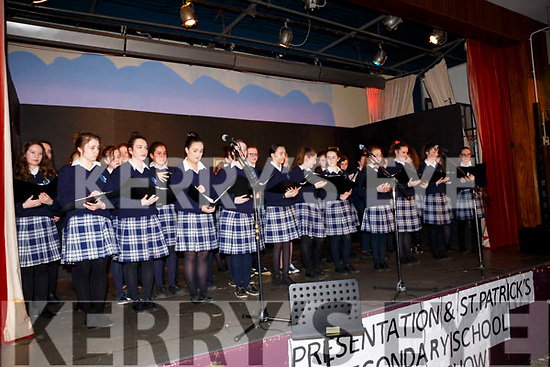 The School Choir open the show at the Castleisland Presentation Schools Talent show in the school hall last Thursday.