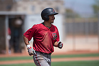Arizona Diamondbacks shortstop Jose Caballero (13) jogs to first base during an Extended Spring Training game against the Cleveland Indians at the Cleveland Indians Training Complex on May 27, 2018 in Goodyear, Arizona. (Zachary Lucy/Four Seam Images)