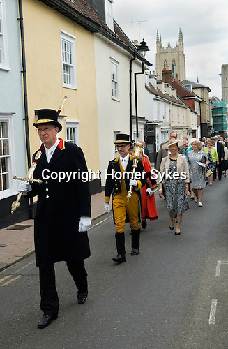 Jankyn Smyth Cake and Ale ceremony at the Guildhall Bury St Edmunds Suffolk 2015. Civic procession from St Mary's Church to the Guildhall.