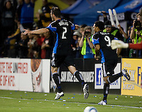 Bobby Burling of Earthquakes celebrates after scoring a goal in the second half of the game against the Red Bull at Buck Shaw Stadium in Santa Clara, California.  San Jose Earthquakes defeated New York Red Bulls, 4-0.