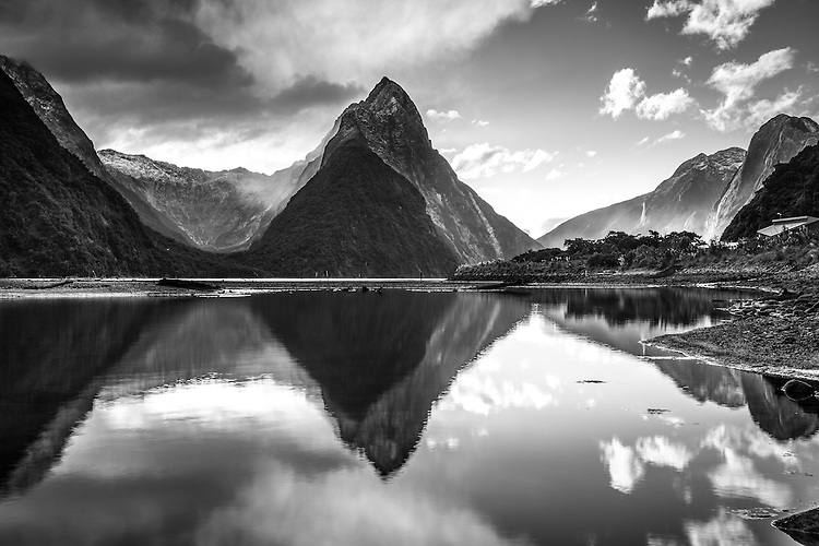 Milford Sound reflection (black and white) including Mitre Peak Fiordland National Park, South Island, New Zealand - stock photo, canvas, fine art print