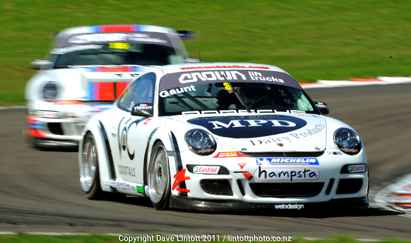 Dan Gaunt competes in the Porche GT3 Cup challenge qualifying. CRC 200 MotorSport New Zealand Premier Race Championship Round 5 at Manfeild Autocourse, Feilding, New Zealand on Saturday 12 February 2011. Photo: Dave Lintott / lintottphoto.co.nz