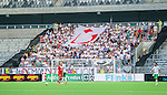 Stockholm 2014-07-28 Fotboll Superettan Hammarby IF - Assyriska FF :  <br /> Assyriskas supportrar med en flagga med ett tecken p&aring;<br /> (Foto: Kenta J&ouml;nsson) Nyckelord:  Superettan Tele2 Arena Hammarby HIF Bajen Assyriska AFF supporter fans publik supporters