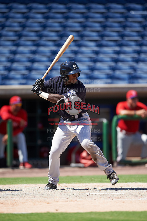 New York Yankees Tito Polo (26) during an Instructional League game against the Philadelphia Phillies on September 27, 2016 at Bright House Field in Clearwater, Florida.  (Mike Janes/Four Seam Images)