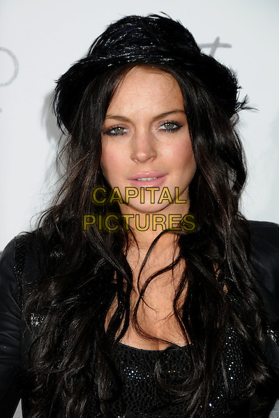LINDSAY LOHAN.Star Magazine Celebrates Young Hollywood held at Voyeur, West Hollywood, California, USA, .31st March 2010..portrait headshot black hat  make-up  jacket top mouth open feathers feather .CAP/ADM/BP.©Byron Purvis/Admedia/Capital Pictures