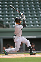 Right fielder Malique Ziegler (2) of the Augusta GreenJackets bats in a game against the Greenville Drive on Wednesday, April 25, 2018, at Fluor Field at the West End in Greenville, South Carolina. Augusta won, 9-2. (Tom Priddy/Four Seam Images)