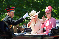 Prince Harry, Camilla Duchess of Cornwall and Catherine Duchess of Cambridge<br /> during Trooping the Colour on The Mall, London. <br /> <br /> <br /> &copy;Ash Knotek  D3283  17/06/2017