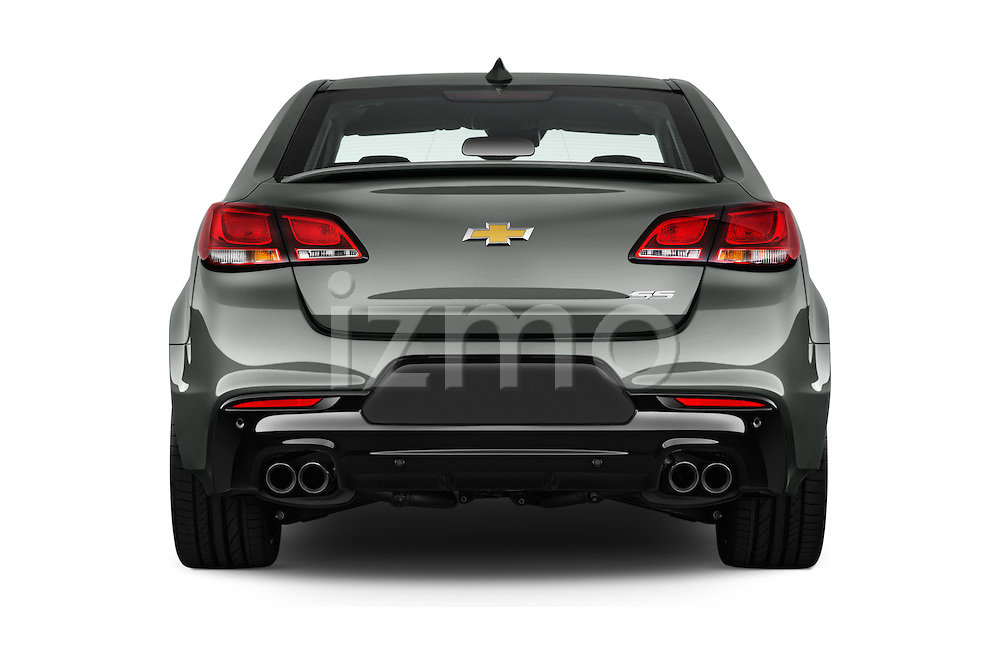 Straight rear view of 2016 Chevrolet SS 6.2 4 Door Sedan Rear View  stock images