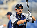 21 June 2011: Seattle Mariners right fielder Ichiro Suzuki awaits his turn in the batting cage prior to a game against the Washington Nationals at Nationals Park in Washington, District of Columbia. The Nationals rallied from a 5-1 deficit, scoring 5 runs in the bottom of the 9th, to defeat the Mariners 6-5 in inter-league play. Mandatory Credit: Ed Wolfstein Photo