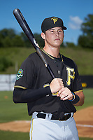 Conner Uselton (25) of the Bristol Pirates poses for a photo prior to the game against the Danville Braves at American Legion Post 325 Field on July 1, 2018 in Danville, Virginia. The Braves defeated the Pirates 3-2 in 10 innings. (Brian Westerholt/Four Seam Images)