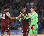 Orjan Nyland of Aston Villa has words with his defence Tyrone Mings and Ezri Konsa of Aston Villa during the Carabao Cup match at the King Power Stadium, Leicester. Picture date: 8th January 2020. Picture credit should read: Darren Staples/Sportimage