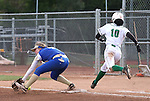 Rancho's Jahnae Davis-Houston reaches first as Reed's Alexis Gonzalez tries to come up with the ball during NIAA DI softball action at the University of Nevada, in Reno, Nev., on Friday, May 20, 2016. Rancho won 12-0 in five innings to advance to the championship. Cathleen Allison/Las Vegas Review-Journal