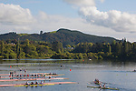Rowing, Regatta Course, morning workout, launch dock, racing shells, November 3, 2010, 2010 FISA World Rowing Championships, Lake Karapiro, Hamilton, New Zealand,
