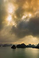View from Ti top Island in Halong Bay, North Vietnam. The bay features 3,000  limestone and dolomite karsts and islets in various shapes and sizes sprinkled over 1,500 square kilometers. It offers a wonderland of karst topography. It is a UNESCO World Heritage Site.