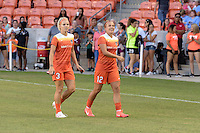 Houston, TX - Sunday June 19, 2016: Rachel Daly, Amber Brooks prior to a regular season National Women's Soccer League (NWSL) match between the Houston Dash and FC Kansas City at BBVA Compass Stadium.
