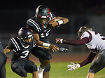 Lawndale, CA 09/29/17 - Nick O'keefe (Torrance #34), Ryan Wells (Lawndale #3) and Jalen Hamler (Lawndale #15) in action during the Torrance vs Lawndale CIF Varsity football game at Lawndale High School.   Lawndale defeated Torrance 42-0.