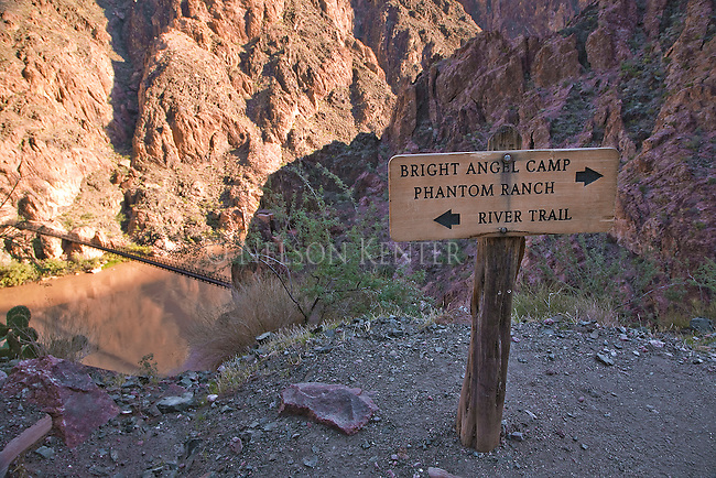 Trail sign above the Colorado River in Grand Canyon