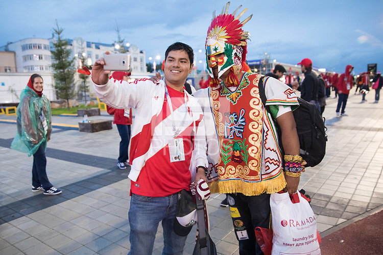 YEKATERINBURG, RUSSIA - June 21, 2018: A Peru fans poses for a photo after his team lost against France during a 2018 FIFA World Cup group stage at Yekaterinburg Arena Stadium.