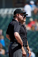 Umpires Darius Ghani and Andrew Barrett before a Texas League game between the Amarillo Sod Poodles and Frisco RoughRiders on May 19, 2019 at Dr Pepper Ballpark in Frisco, Texas.  (Mike Augustin/Four Seam Images)