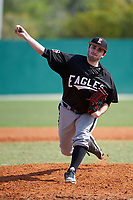 Edgewood Eagles pitcher Bryce Lashley (31) delivers a pitch during the first game of a doubleheader against the Lasell Lasers on April 14, 2016 at Terry Park in Fort Myers, Florida.  Edgewood defeated Lasell 9-7.  (Mike Janes/Four Seam Images)