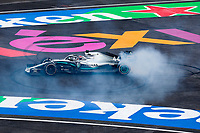 27th October 2019, Autodromo HermanRodriguez, Mexico City, Mexico; F1 Grand Prix of Mexico, Race Day; Winner Lewis Hamilton GBR, Mercedes AMG Petronas Motorsport does doughnuts in celebration of his win