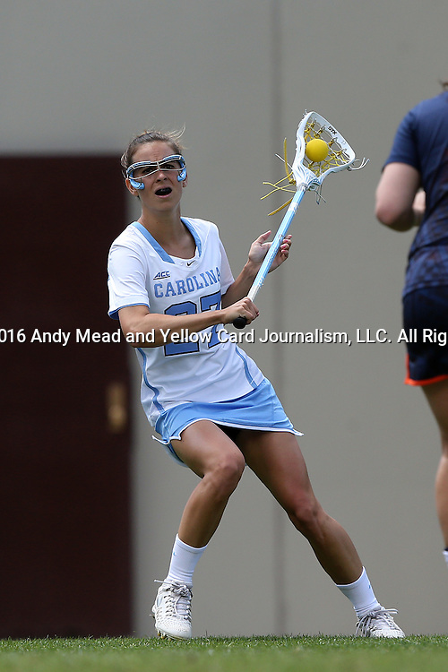 01 May 2016: North Carolina's Aly Messinger. The University of North Carolina Tar Heels played the Syracuse University Orange at Lane Stadium in Blacksburg, Virginia in the 2016 Atlantic Coast Conference Women's Lacrosse Tournament championship match. North Carolina won 15-14 in overtime.