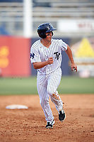 Tampa Yankees first baseman Mandy Alvarez (34) runs the bases during the first game of a doubleheader against the Bradenton Marauders on April 13, 2017 at George M. Steinbrenner Field in Tampa, Florida.  Bradenton defeated Tampa 4-1.  (Mike Janes/Four Seam Images)