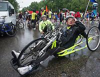 Wheelchair marathon runners at Cibeles Square