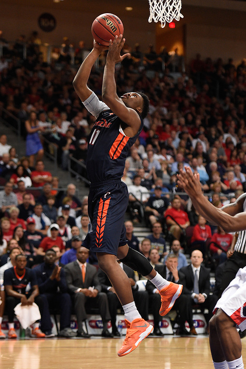March 9, 2015; Las Vegas, NV, USA; Pepperdine Waves guard/forward Atif Russell (11) shoots the basketball against the Gonzaga Bulldogs during the second half of the WCC Basketball Championships at Orleans Arena.