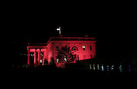 The White House is lit up in pink for breast cancer awareness month, Washington, DC, October 20, 20016. <br /> Credit: Aude Guerrucci / Pool via CNP /MediaPunch